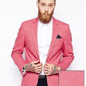 ASOS Slim Fit Blazer In Jersey - Red / Pink